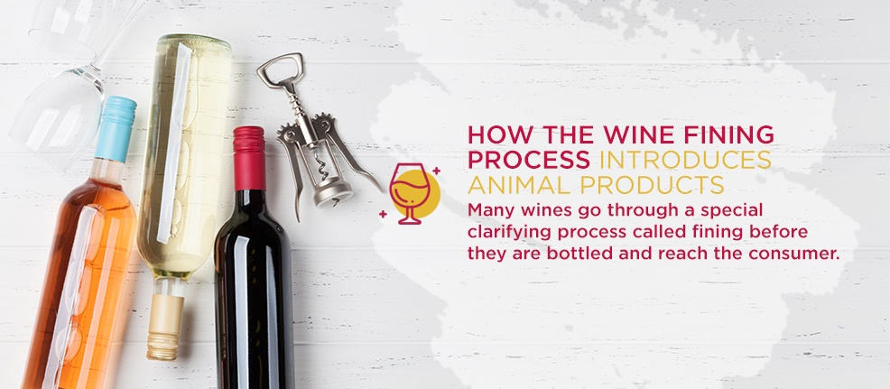 How the Wine Fining Process Introduces Animal Products. Many wines go through a special clarifying process called fining before they are bottled and reach the consumer.