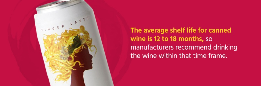 The average shelf life for canned wine is 12 to 18 months, so manufacturers recommend drinking the wine within that time frame.