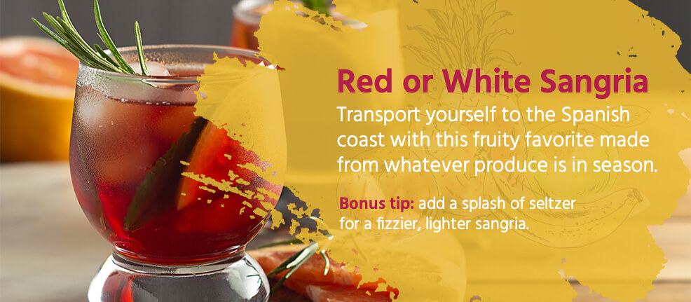 Red or white sangria. Transport yourself to the Spanish coast with this fruity favorite made from whatever produce is in season.